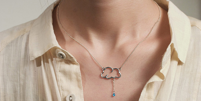 Cloud & Raindrop Necklace