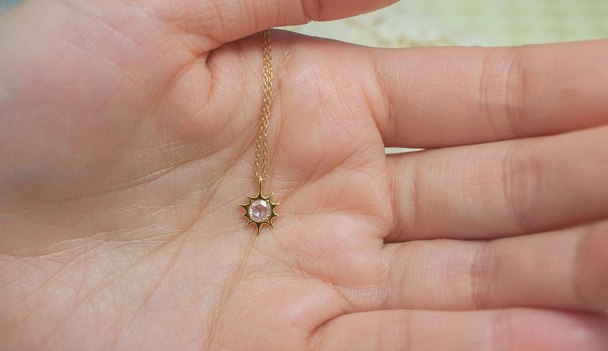 18k 太陽とダイヤのネックレス