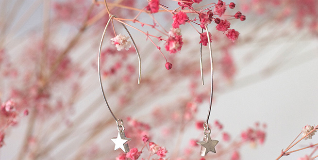 小さな星のロングフックピアス