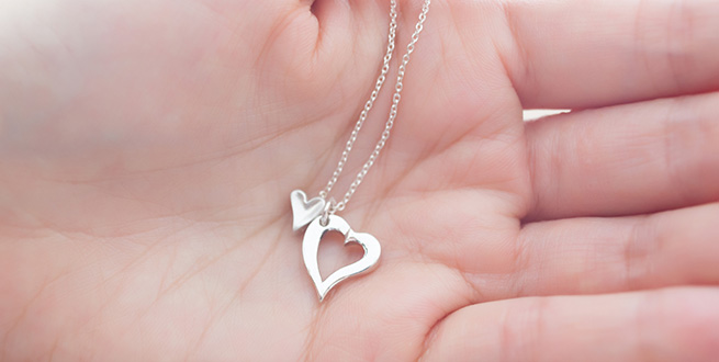 Open & Tiny Heart Necklace