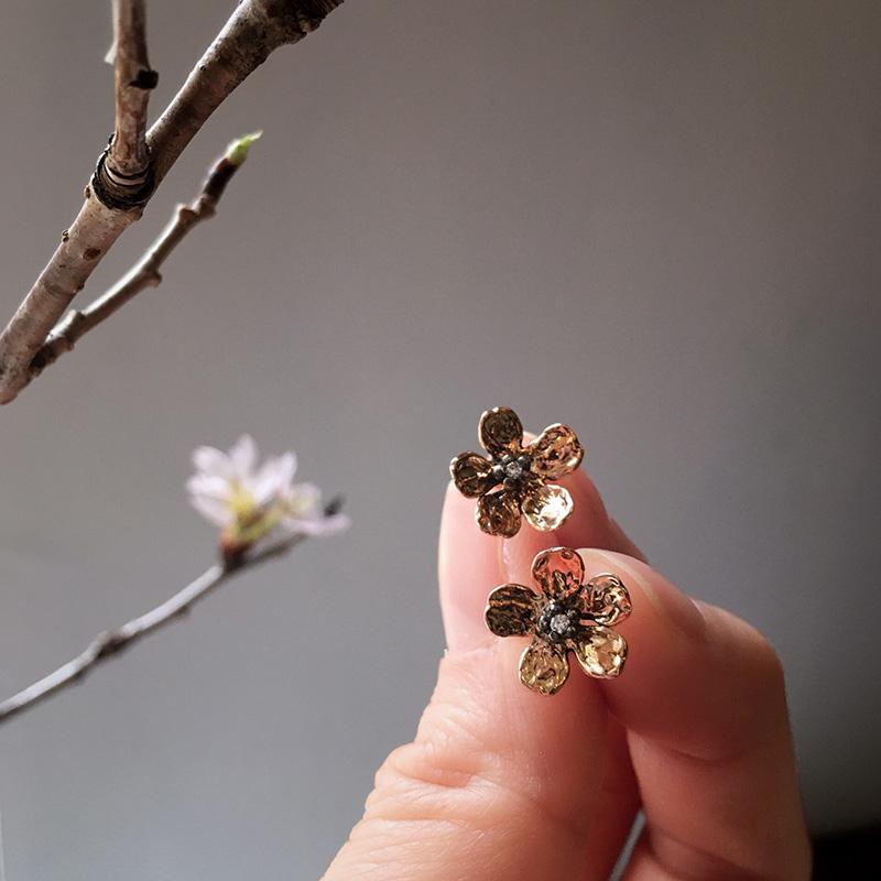 一輪の桜 K10ピンクゴールドピアス