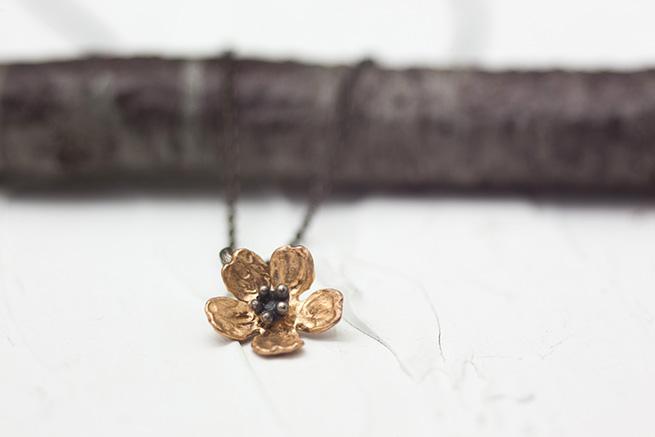 一輪の桜のネックレス(925)